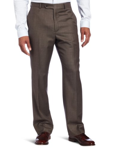 Tommy Hilfiger Men's Flat Front Sharkskin Pant, Brown, 30W x (Mens Brown Sharkskin)