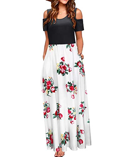 (STYLEWORD Women's Summer Cold Shoulder Floral Print Elegant Maxi Long Dress with)