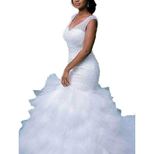 KLN_Dress Luxury Full Beading Sexy V-Neck Cap Sleeves Mermaid Wedding Dresses Ruffles Tulle Bridal Gowns by KLN_Dress