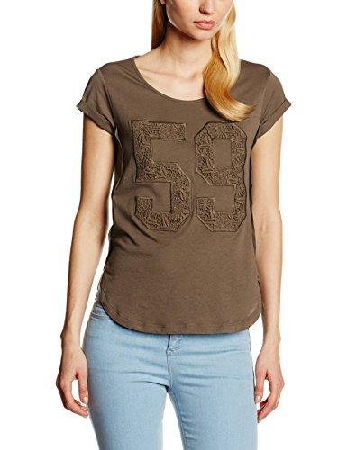 Stefanel T-SHIRT JERSEY N. 59 MACRAME - Camiseta para mujer, color marrón, talla XS