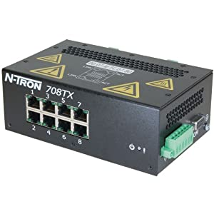 Red Lion N-TRON 708FX2 10/100 and 100Base Fully Managed Industrial Ethernet Switch with 8 Ports