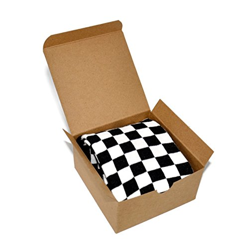 Themed Patterned Men's Novelty Crew Socks 1 Pair in Small Gift Box (Checkered - ()