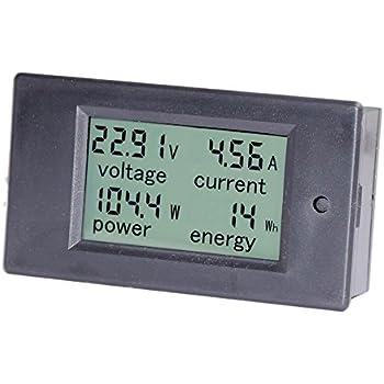 bayite DC 6.5-100V 0-20A LCD Display Digital Ammeter Voltmeter Multimeter Current Voltage Power Energy Battery Monitor Amperage Meter Gauge with Built-in Shunt