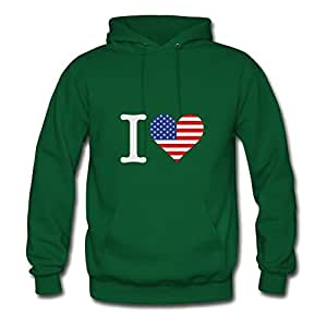 I Love Usa (3c) Printed Regular : X-large Womenhoodies Green- Made In Good Quality.