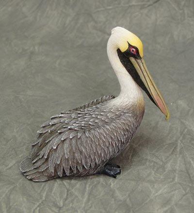 Sherry Wood Finish - Light Brown Pelican Mini Figurine Beach Wildlife Coastal Decor 3+