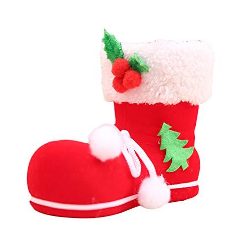 LUOEM 3pcs Bags Candies Goodies Favors Xmas Boots Stockings Santa Drawstring Party Decorations (Medium)]()