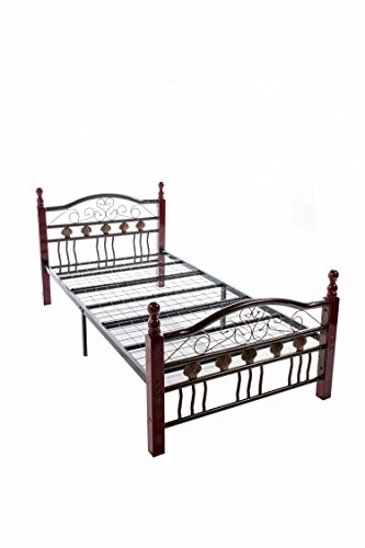 Home Source Industries 4700 Decorative Twin Metal Bed with Sturdy Wooden Posts, Bronze