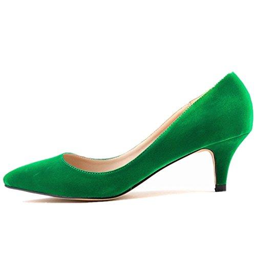 SAMSAY Women's Slender Kitten Heels Pointed Toe Pumps Court Shoes Green Velvet