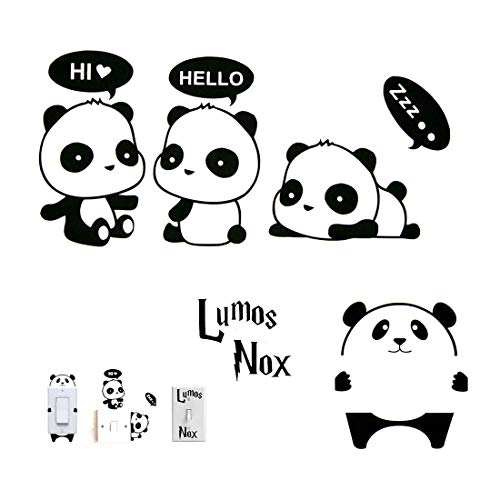 Panda Vinyl (Better Selection Switch Sticker, Lovely Cute Cartoon Panda Vinyl Wall Switch Sticker for Home Decoration, Lumos Nox Light Switch Decor Decals (5 Pack))