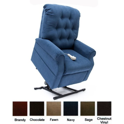 Mega Motion Lift Chair Easy Comfort Recliner LC-200 3 Position Rising Electric Power Chaise Lounger - Navy Blue Color Fabric + Inside the Home Delivery, Setup and Box Removal