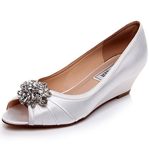 LUXVEER Ivory Low Heel Wedding Wedges Shoes,2inch Heels-EU35