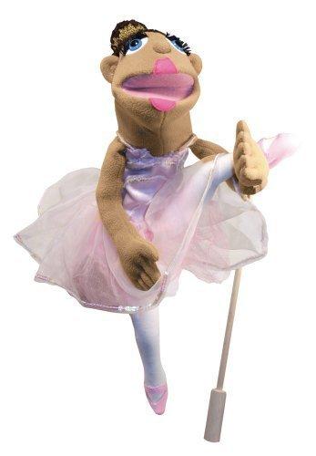 Melissa & Doug Ballerina Puppet - Full-Body With Detachable Wooden Rod for Animated Gestures Ballerina Hand Puppet