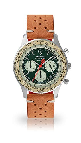 DETOMASO Firenze Mens Watch Chronograph Analogue Quartz Brown Racing Vintage Leather Strap Green Dial DT1069-B-843