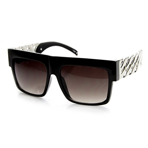 MLC EYEWEAR ® Retro Old School Thick Metal Chain Sunglasses Platinum Edition - Old School Hollywood Costume