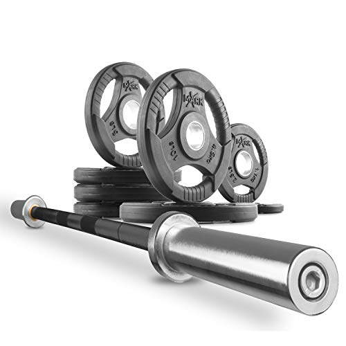 XMark Combo Offer 7 ft. Olympic Exercise Barbell XM-3817-BLACK with 45 lb Set of Premium Quality Rubber Coated Tri-Grip Olympic Weights Set XM-3377-BAL-45