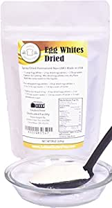 Dried Egg Whites (8 oz) (Non-GMO, Pasteurized, Made in USA, 1 Ingredient no additives, Produced from the Freshest of Eggs)