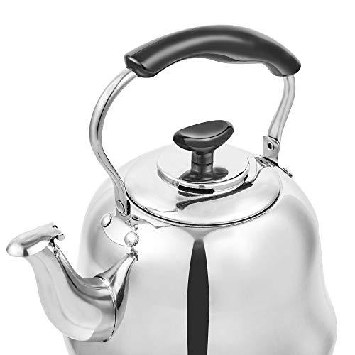 Tea Kettle Stovetop Teapot Stainless Steel Hot Water Kettle Whistling - Mirror Finsh,Folding Handle, Fast To Boil, 2 Liter Whistling Teakettles by Weftnom (Image #5)