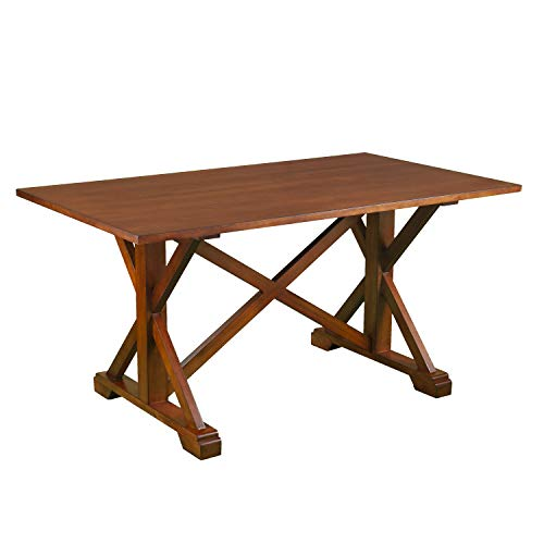 Farmhouse Dining Table - Rustic Wood Trestle Design w/Brown Finish - Seats 4 to 6