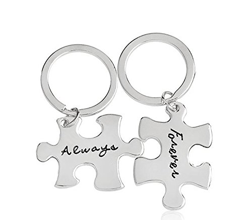 Meiligo Retro 2 Pcs Couples I Love You Always Forever Letter Puzzle Dog Tag Necklace Key Chain Square Matching Engraved Heart Letter Necklace Set (Key Chain-Silver(2pcs))