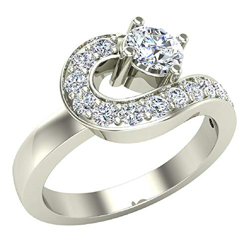 - 14K White Gold Snake Ring Love Knot Promise Ring 1.00 Diamond Carat Total Weight (Ring Size 8)