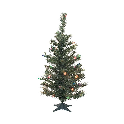 Vickerman C812879 Canadian Pine Artificial Christmas Tree with 146 Pvc Tips & 35 Dura Lit Mini Lights, 36 , Multi