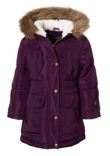 Sportoli Girls Fashion Winter Puffer Jacket Coat Sherpa Lined Fur Trim Hood - Burgundy (Size ()
