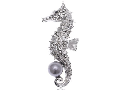 Alilang Clear Crystal Rhinestone Grey Faux Pearl Beaded Ocean Seahorse Cute Pin Brooch