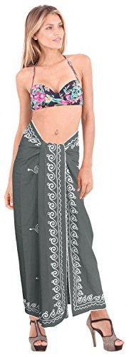 traje de baño trajes de baño del bikini del traje de baño de la falda del abrigo rayón bordado falda pareo Gris | Estados Unidos: 26W (2X) / Reino Unido: 28