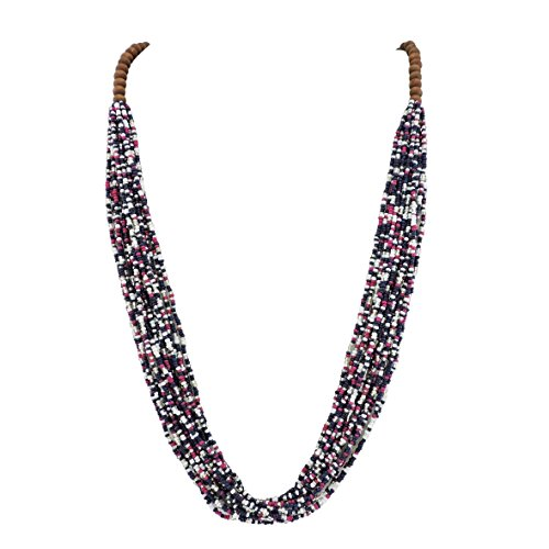 Bocar Long Multiple Row Handmade Beaded Statement Necklace with Gift Box (NK-10407-astral Aura)