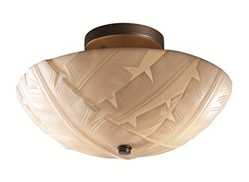 (Justice Design Group Porcelina 2-Light Semi-Flush - Dark Bronze Finish with Banana Leaf Faux Porcelain Resin Shade )