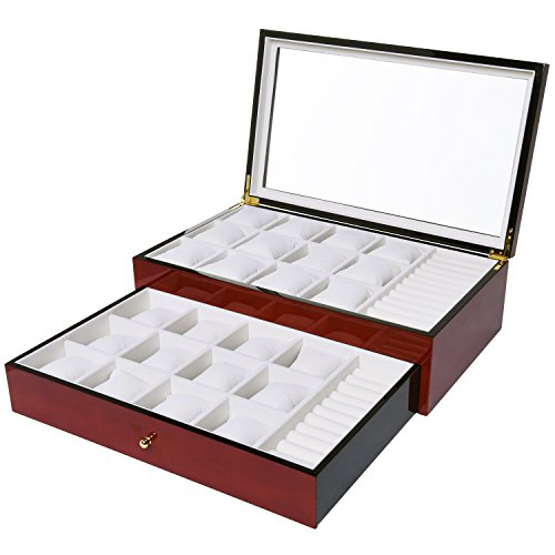Wooden Watch box & Jewelry Organizer Mens & Womens Elegantly Displays 24 Watches & 2 Row of Jewelry Glass Top