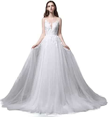 0e7c90c0d591 ASA Bridal Women's Vintage Cap Sleeve Lace Wedding Dress A Line Evening Gown