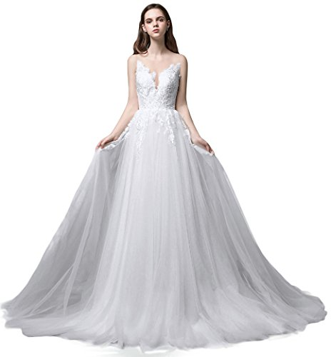 Ruolai Romantic Lace Long Wedding Dress Layered Bridal Gowns White 3