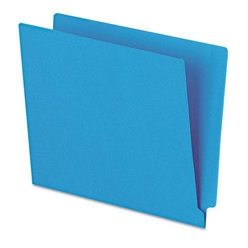 (Esselte Colored End Tab Folder - Letter - 8.5amp;quot; x 11amp;quot; - Straight Cut Tab - 0.75amp;quot; Expansion - 100 / Box - 11pt. - Blue)