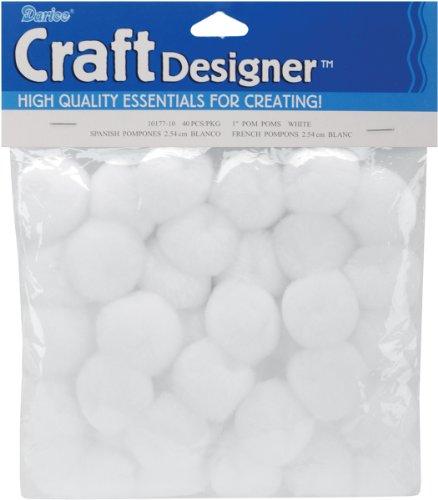 Darice 40 Piece Acrylic 1 Inch White