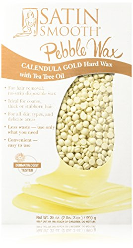 Hard Gold Wax (Satin Smooth Calendula Gold Pebble Wax with Tea Tree Oil, 35 Ounce)