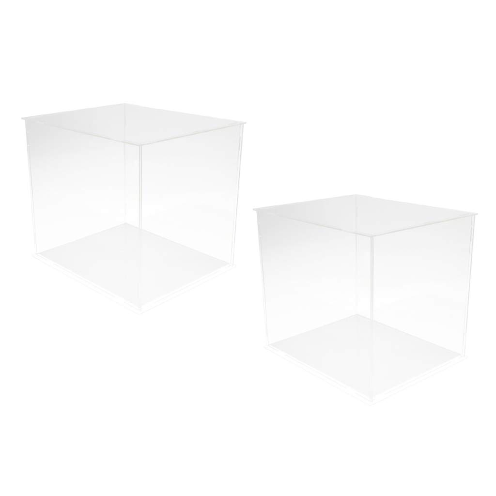 Homyl 2 PCS Clear Plastic Display Case Box Base Dollhouse Action Figures Toy Vehicle Model Showcase Home Display