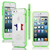 Apple iPhone 4 4s Ultra Thin Transparent Clear Hard TPU Case Cover France French Flag (Green)