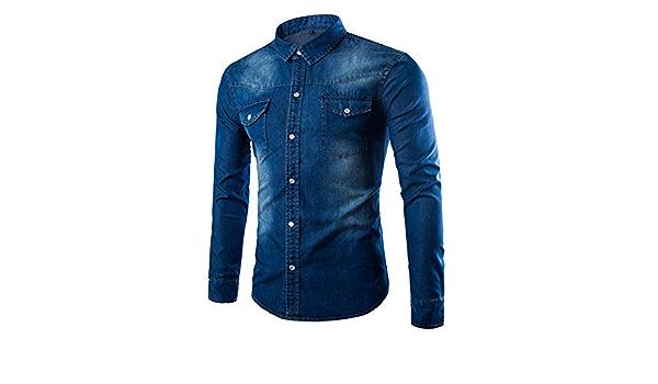 Camisa Vaquera de Color sólido Degradado clásico para Hombre ...