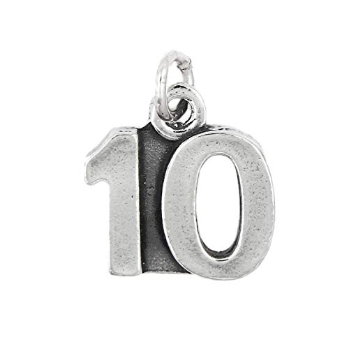 Sterling Silver Number 10-10 Years Charm Pendant Jewelry Making Supply Pendant Bracelet DIY Crafting by Wholesale Charms -