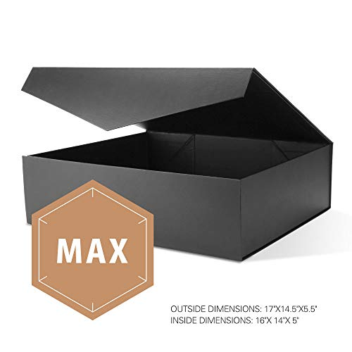 PACKHOME Extra Large Gift Box with Lids Rectangular 17x14.5x5.5 Inches, Gift Box for Clothes and Large Gifts (Matte Black with Embossing, 1 Box) ()