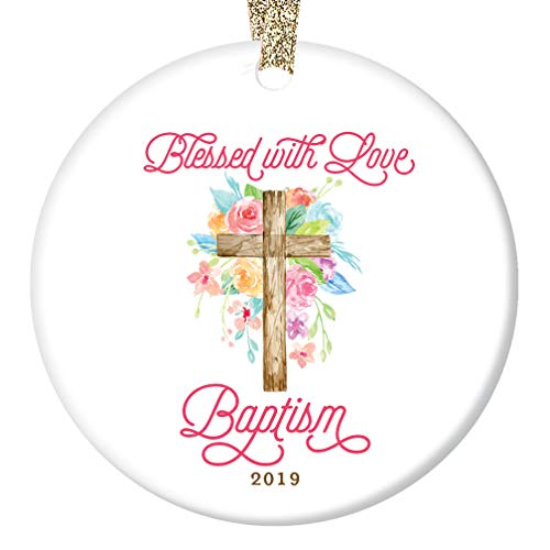 Baptism 2019 Christmas Ornament Christian Church Sacrament Holiday Porcelain Keepsake Tree Decoration Baptized Baby Child Adult 3