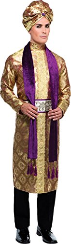 Bollywood Costumes Men (Adults Fancy Dress Asian Party Maharajah Sultan Bollywood Man Complete Costume)