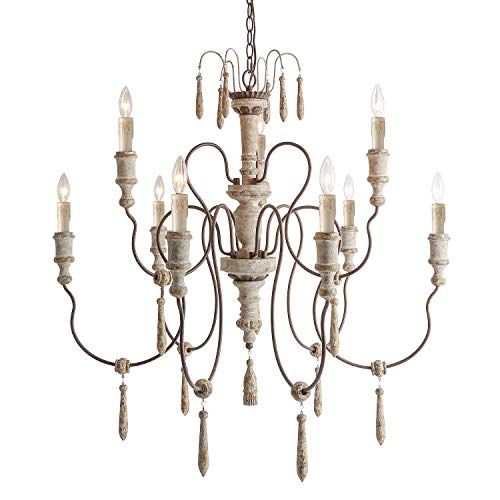 LALUZ 9-Light French Country Distressed White Wood Chandeliers with Wooden Pendants, D39 H38
