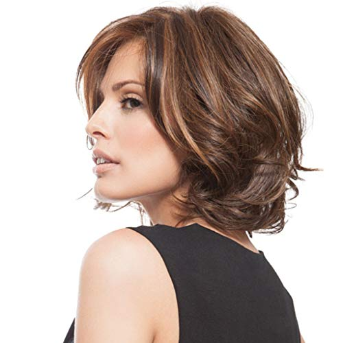 Women's Short Layered Wavy Full Synthetic Wigs Copper Brown Mother's Day (a) -