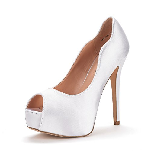 (DREAM PAIRS Women's Swan-25 White High Heel Plaform Dress Pump Shoes Size 8.5 M US)