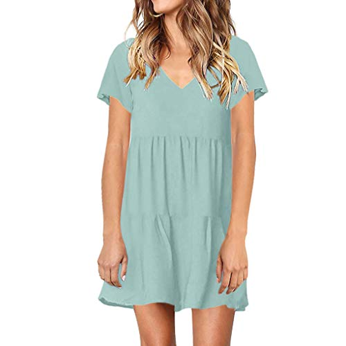 CCOOfhhc Women's Casual Dresses V-Neckline Solid T-Shirt Dress Pleated Ruffle Loose Swing Mini Dress Short Sleeve Sundress Mint Green C&c California Long Sleeve V-neck Shirt