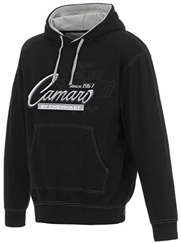 Men's Chevy Camaro Pullover Hoodie Gray Hood Lining & Body Stitching (2X, Black - Gray)