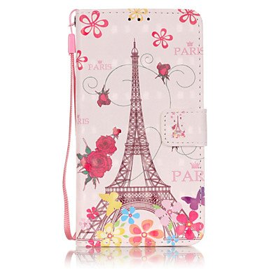 PU Leather Material 3D Painting Butterfly Tower Pattern Phone Case for Samsung Galaxy J5/J510/J3/J310/G360/G530 ( Compatible Models : Galaxy Grand Prime ) (Samsung Galaxy Grand 3)