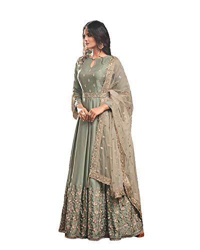 Readymade Bollywood Indian/Pakistani Anarkali Suit Simar (MEDIUM-40, Mahendi) by Delisa